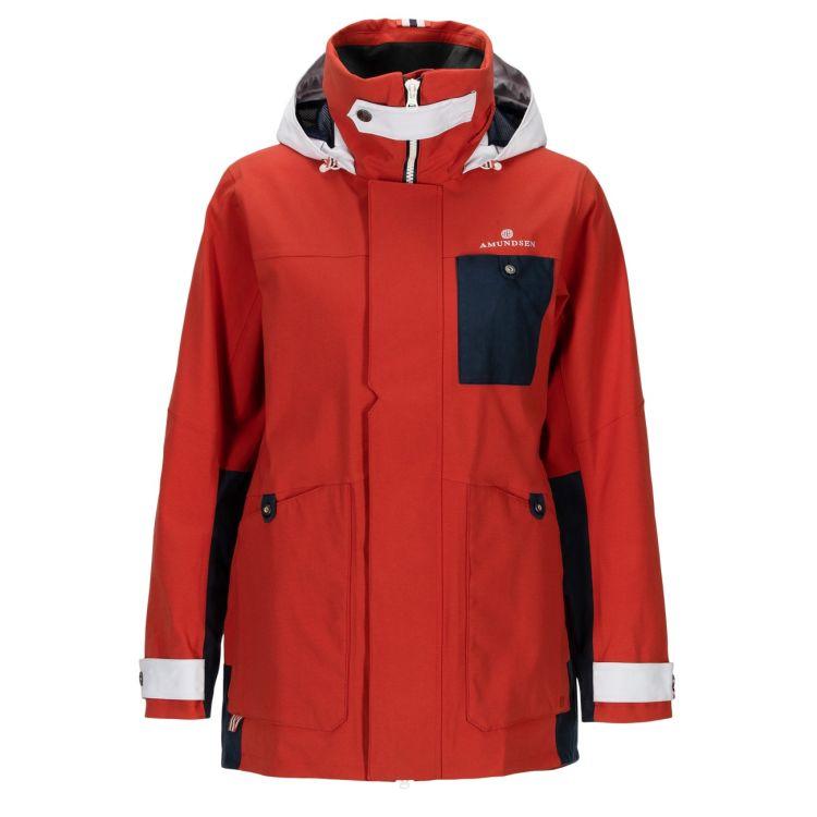 Deck Jacket fra Amundsen Sports til dame i fargen red clay. Produktbildet viser jakken sett forfra