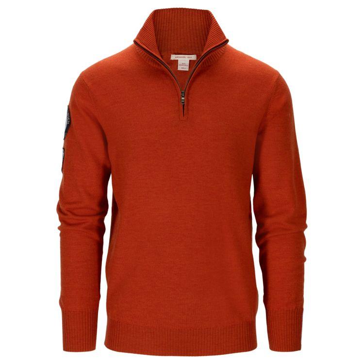 Amundsen Peak Half zip genser fra Amundsen Sports til herre, i fargen Iron Rust. Produktbildet viser genseren sett forfra