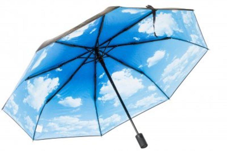 Paraply fra Happysweeds i designet Sky Lake. Bildet viser paraplyens underside med motiv