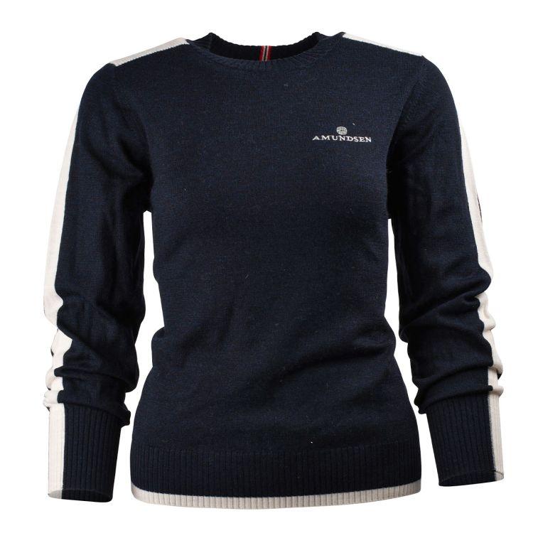 5mila peak crew neck fra amundsen sports i fargen faded navy til dame. produktbilde sett forfra