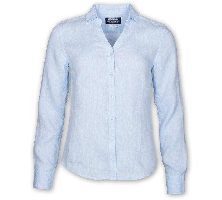 sebago bianca linen shirt light blue. produktbilde tatt forfra
