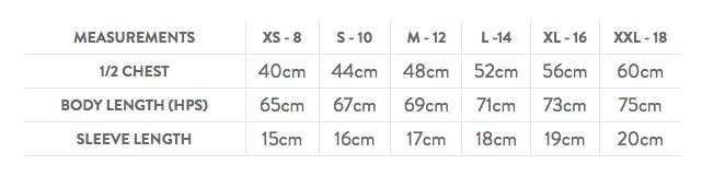 Ladies Cool Tee - Size Guide