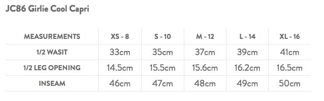 JC86 Capri Leggings Size Guide