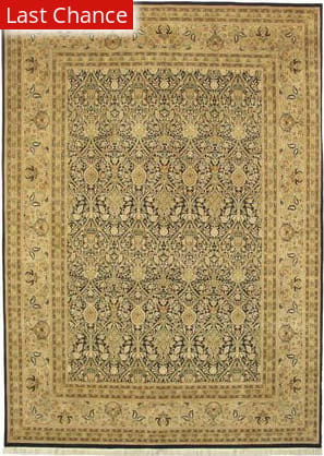 J. Aziz Shah Abbas WM.MORRIS Black / Gold Area Rug