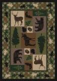 American Dakota National Park Wildlife Retreat Green Area Rug