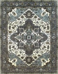Due Process Tufted Serapi Covered Field Ivory - Frost Grey Area Rug