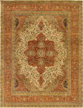 Exquisite Rugs Fine Serapi Hand Knotted 5022 Ivory - Rust Area Rug