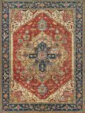 Exquisite Rugs Antique Weave Serapi Hand Knotted 7053 Red - Blue Area Rug