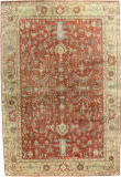 Exquisite Rugs Antique Weave Serapi Hand Knotted 9192 Red - Gold Area Rug