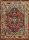 Exquisite Rugs Antique Weave Serapi Hand Knotted 9972 Red - Ivory Area Rug