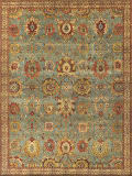 Exquisite Rugs Antique Weave Serapi Hand Knotted 9973 Light Blue - Ivory Area Rug