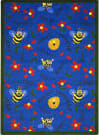 Joy Carpets Kid Essentials Bee Attitudes Blue Area Rug