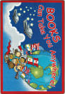 Joy Carpets Kid Essentials Books Can Take You Anywhere Sky Blue Area Rug