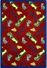 Joy Carpets Playful Patterns Hook And Ladder Red Area Rug