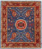 Kashee Vintage Blue - Red 5' x 6'4'' Rug
