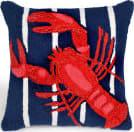 Trans-Ocean Frontporch Pillow Lobster On Stripes 1595/33 Navy