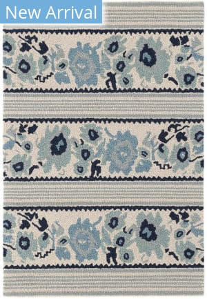 Dash And Albert Vintage Floral Stripe Blue Area Rug