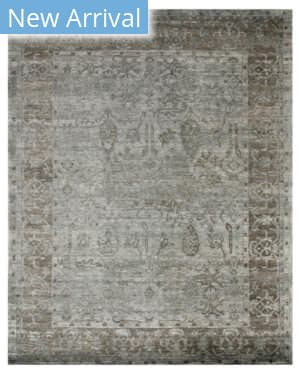 Exquisite Rugs Antique'd Silk Hand Knotted Blue - Green Area Rug