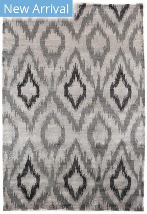 Exquisite Rugs Abstract Expressions Hand Knotted 5001 Silver - Charcoal Area Rug