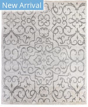 Exquisite Rugs Bamboo Silk Hand Knotted Ivory - Light Gray Area Rug