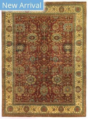Exquisite Rugs Fine Serapi Hand Knotted Rust - Light Gold Area Rug
