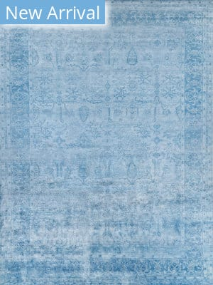 Exquisite Rugs Antique'd Silk Hand Knotted Ivory - Aqua Area Rug