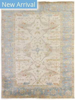 Exquisite Rugs Oushak Hand Knotted Ivory - Blue Area Rug