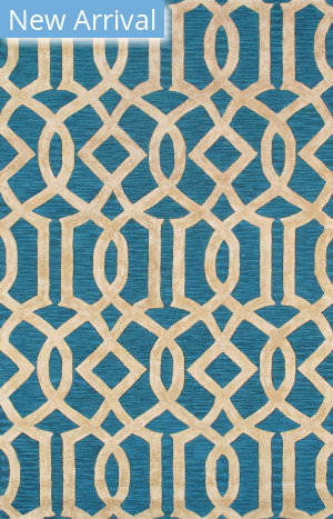 Famous Maker Transitional Pbw-785 Teal Blue - Beige Area Rug