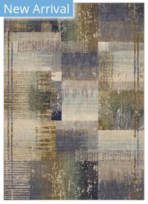 Karastan Enigma Abstract Blocks Antique White - Periwinkle Area Rug