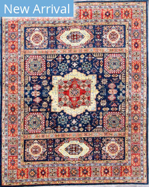 Kashee Vintage OAK Blue - Rust Area Rug
