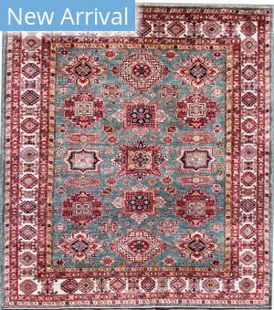 Kashee Noor Kazak OAK Light Blue - Ivory Area Rug
