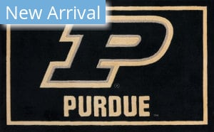 Luxury Sports Rugs Team Purdue University Black Area Rug
