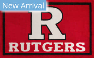 Luxury Sports Rugs Team Rutgers University Red Area Rug