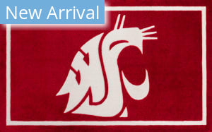 Luxury Sports Rugs Team Washington State University Red Area Rug