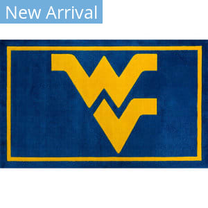 Luxury Sports Rugs Team West Virginia University Blue Area Rug