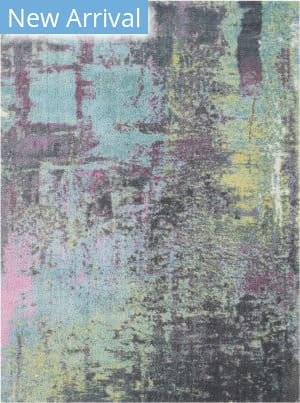 Nourison Abstract Shag Abs02 Teal Area Rug