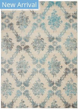 Nourison Tranquil Tra09 Ivory - Turquoise Area Rug