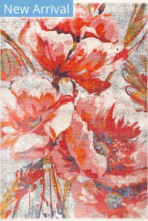 Famous Maker Natalie Floral Red Area Rug