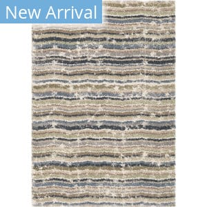 Orian Plush Shag Modern Abstract Distressed Blue Area Rug