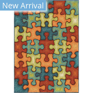 Orian Kids Court I'm Puzzled Rainbow Area Rug