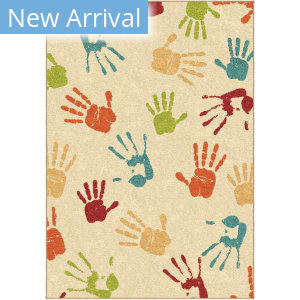 Orian Kids Court Handprints Ivory Area Rug