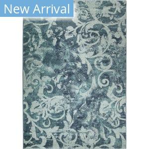 Orian Spoleto Watercolor Scroll Aqua Area Rug