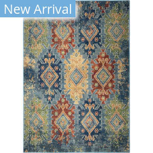 Palmetto Living Alexandria Distressed Borego Medallion Light Blue Area Rug