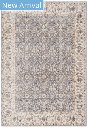 Ralph Lauren Power Loomed Lrl1345a Ivory - Blue Area Rug