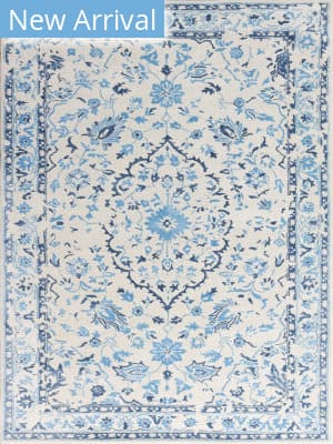 Rugstudio Sample Sale 185356R White - Blue Area Rug