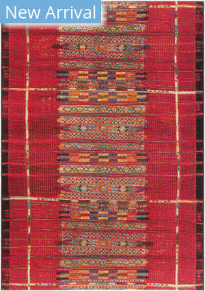 Trans-Ocean Marina Tribal Stripe 8057/24 Red Area Rug
