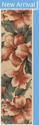 Trans-Ocean Riviera Tropical Flower 7649/12 Ivory Area Rug