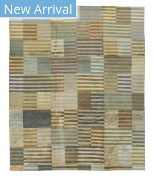 Tufenkian Tibetan Hand-Knotted Tibetan Shakti Blue/Brown Stripes Area Rug