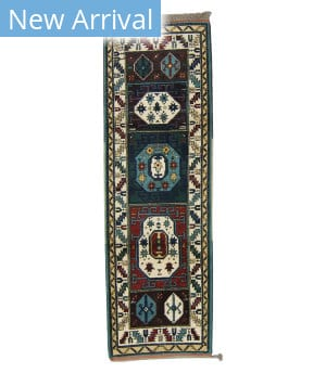 Tufenkian Knotted Kazak Ok Forest Green/ Ruby Area Rug