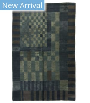 Tufenkian Tibetan Crossword Blue Grey Area Rug